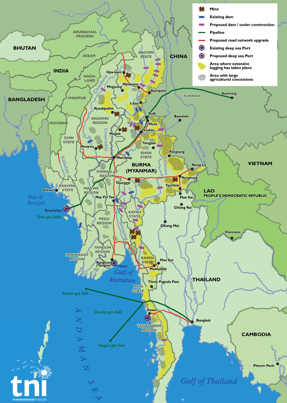 map of myanmar borderlands