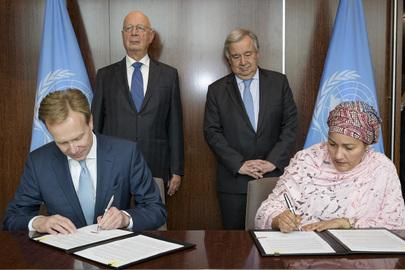 UN and WEF Sign MOU on Strategic Partnership Framework