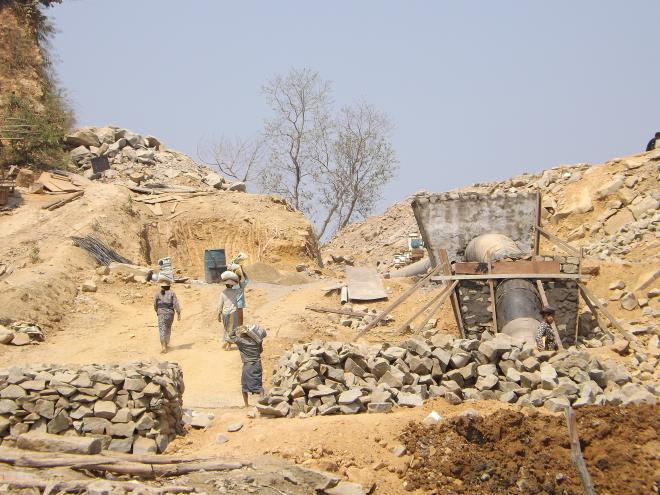 Local workers at Shwe gas pipeline construction site on Maday island, Rakhine State