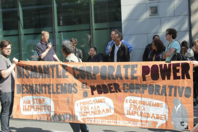 Protest against corporate power in Brussels