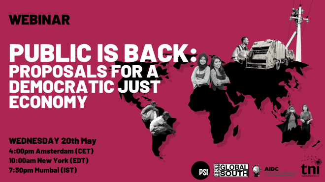 Public is Back - Proposals for a democratic just economy, 4pm CET 20 May