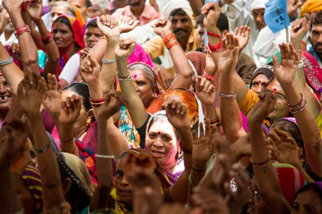 Women at a rally in Narmada valley calling for full rehabilitation of affected communities