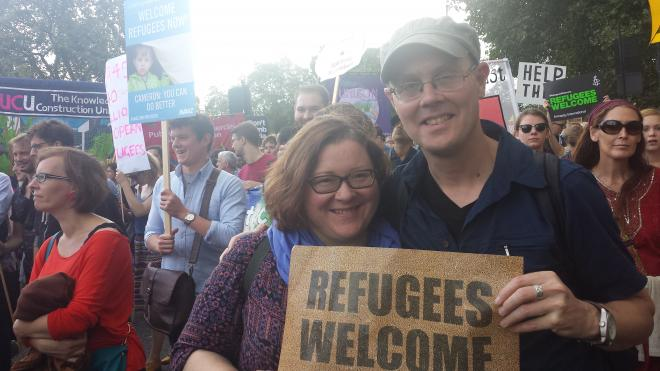 Nick Buxton at Refugees Welcome March