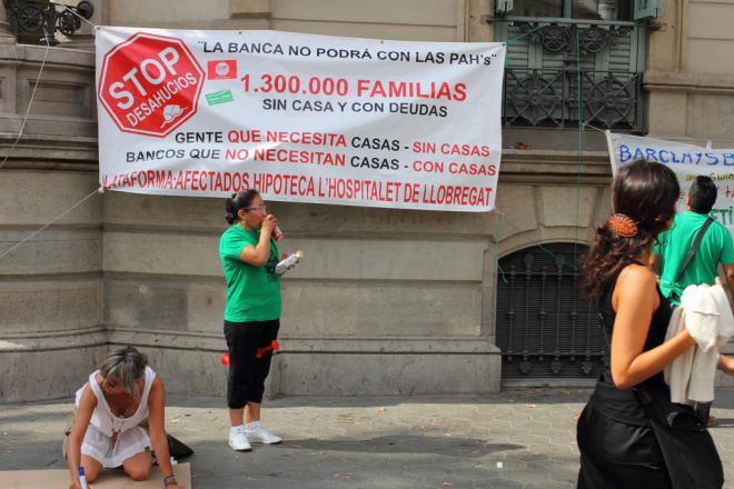 Rally against evictions in Barcelona held by PAH