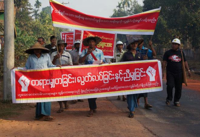 Farmers protesting against land confiscation in Thayetchaung township, Thanintharyi region