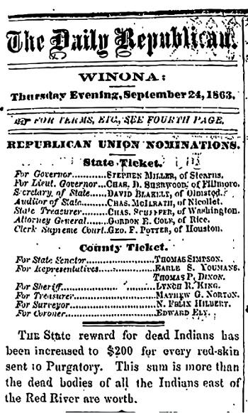 Advert in paper 'Daily Republican' detailing bounty for scalping Native Americans (1863)