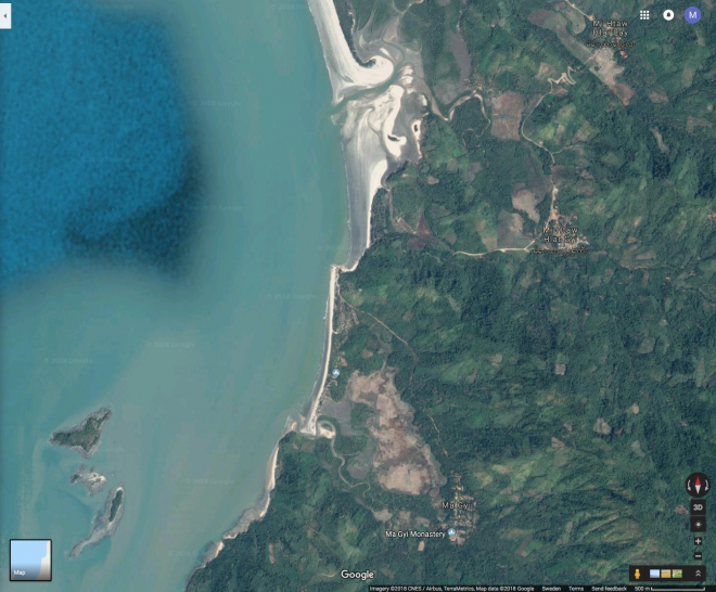 creenshot from Google Maps of the villages and islands under threat in southern Mon State