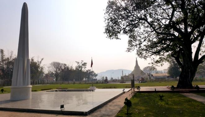 Panglong monument with Shwedagon pagoda replica in background