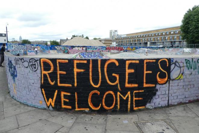 Refugees welcome grafitti