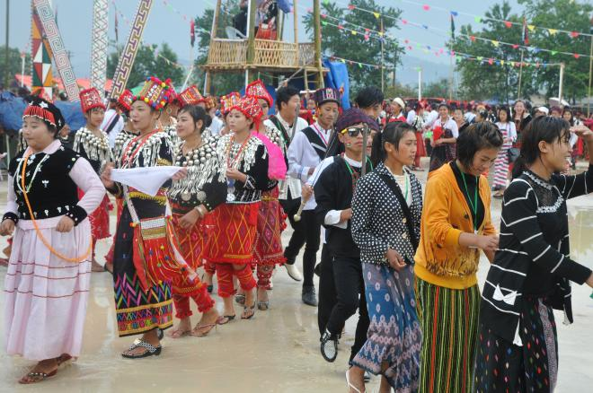 Kachin traditional manao dance in northern Shan State