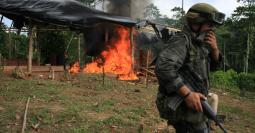 stand on guard after burning a coca laboratory near Tumaco, Colombia, in the southwest state of Narino, June,8, 2008,