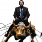 Image of financial corporation  - wall street bull with businessman