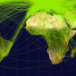 Map of scheduled airline traffic around the world, circa June 2009